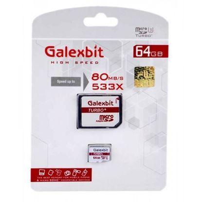 تصویر رم میکرو Galexbit  64G 80M/B class10  UHS-1 با آداپتور