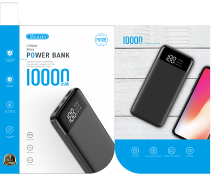 تصویر پاور بانک LCD دار Verity V-PU109  10000mah  فست شارژ