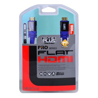 تصویر كابل HDMI KNET PLUS 1.8M 4K فلت