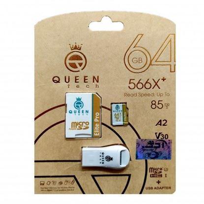 تصویر رم میکرو Queen Tech  64G 566X به همراه مموری ریدر تک کاره